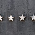 Scale rating system of stars against a wall