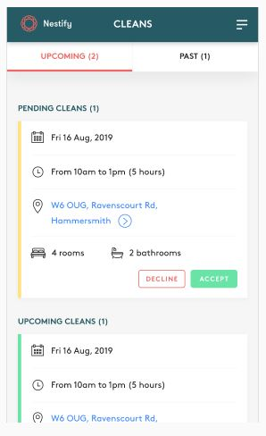 Nestify cleaning app