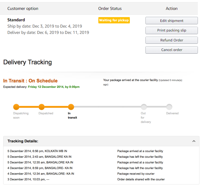 Amazon uses tracking APIs to keep both sellers and buyers in the loop.