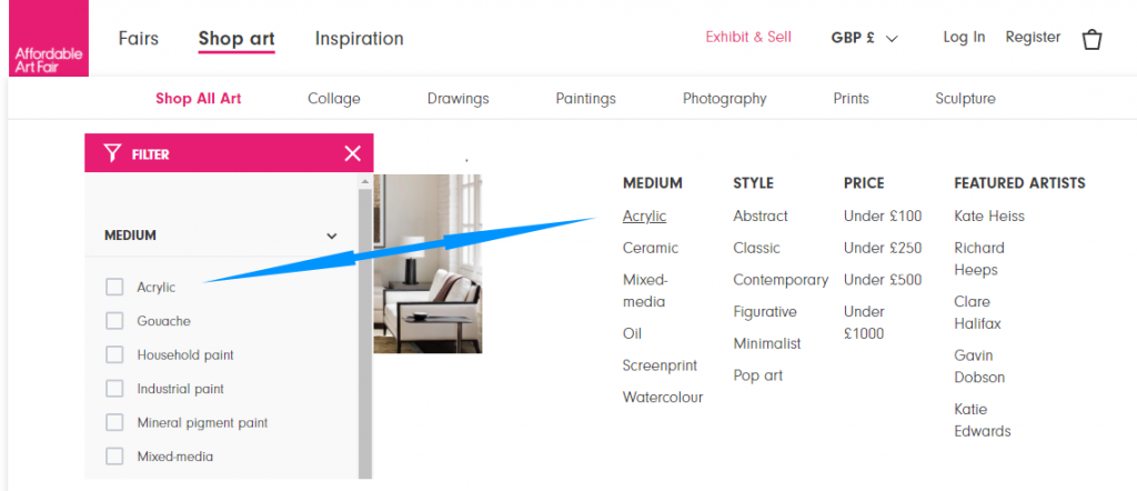 Categories can be added as filters