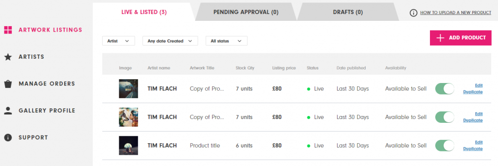 The product screen in an Affordable Art Fair seller dashboard