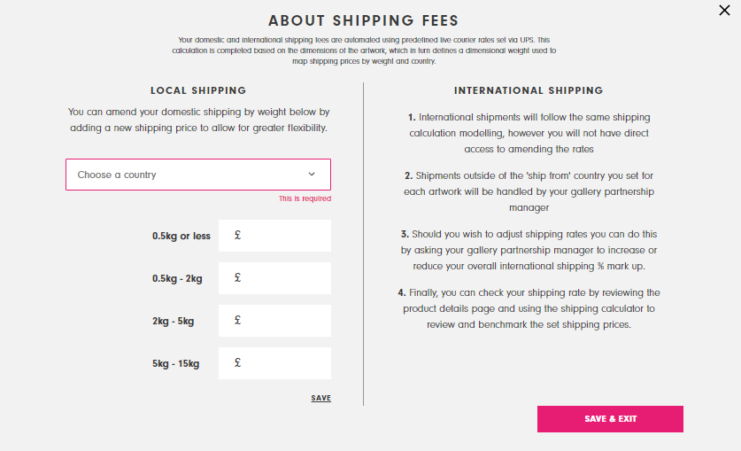 Setting local shipping rates in the seller dashboard