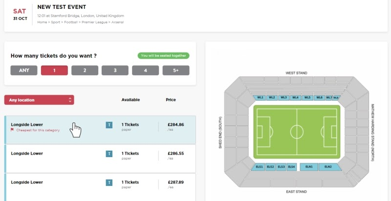 FanPass graphic stadium ticket selector built with React